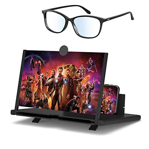 Aso Handy Lupe 3D Bildschirm Vergrößerungsglas 12 Zoll und Anti-Blaulicht-Brille Handy Bildschirm Lupe HD Handylupe Bildschirm Vergrösserung Telefonständer-Bildschirmverstärker Für Alle Smartphone