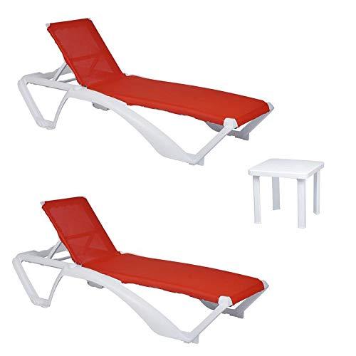 resol set de 2 tumbonas jardín exterior Acqua estructura blanca, textilene rojo y 1 mesa auxiliar Andorra blanca