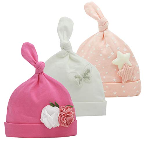 Newborn Beanie Baby Hats 0-6 Months 6-12 Months Girl Bow Caps Hospital Beanie Set (Hot Pink,Baby Pink,White, 0-6 Months)