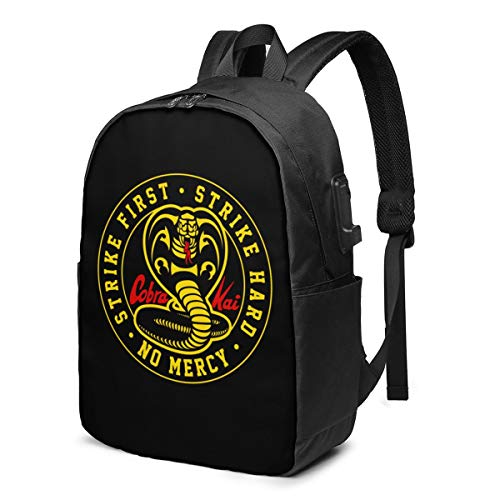 Music Travel Laptop Cobra Kai Backpack Business Durable Laptops Backpack With Usb Charging Port Backpack17 Inch Computer Bag Gifts For Unisex Black