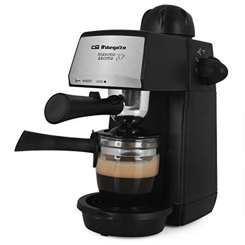Orbegozo EXP 4600 - Cafetera a presión, 5 BAR, vaporizador, 2 a 4 tazas de capacidad, cucharilla dosificadora, jarra de cristal, 870 W