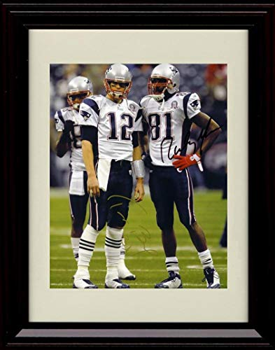 Framed Tom Brady and Randy Moss Autograph Replica Print - Side by Side