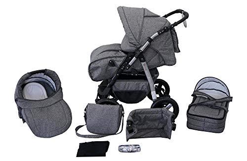 Clamaro 'Milo 2020' 3in1 Kombi Kinderwagen inkl. Babywanne, Sport Buggyaufsatz, Babyschale (ISOFIX) - Hartgummi Bereifung (Grau) - Leinengrau