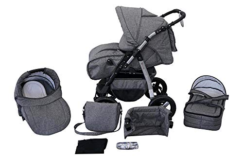 Clamaro \'Milo 2020\' 3in1 Kombi Kinderwagen inkl. Babywanne, Sport Buggyaufsatz, Babyschale (ISOFIX) - Hartgummi Bereifung (Grau) - Leinengrau