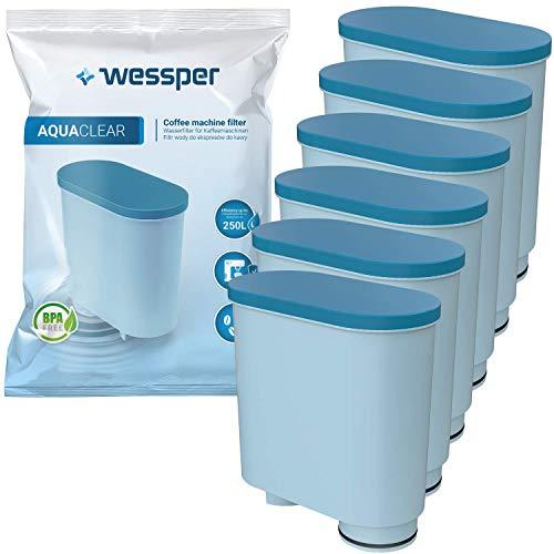Wessper Filtro Acqua per Macchina Caffè, Filtro Acqua Anticalcare CA6903 Aquaclean Filtro Acqua per Macchina da Caffe Philips e Saeco, 6 Pezzi