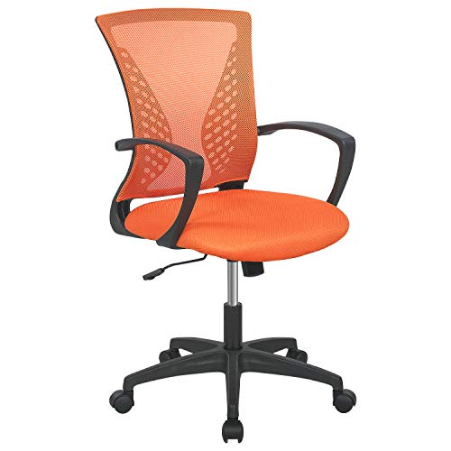 Mesh Office Chair Desk Chair Computer Chair with Lumbar Support Armrest Rolling Swivel Adjustable Ergonomic Task Chair for Adults(Orange)