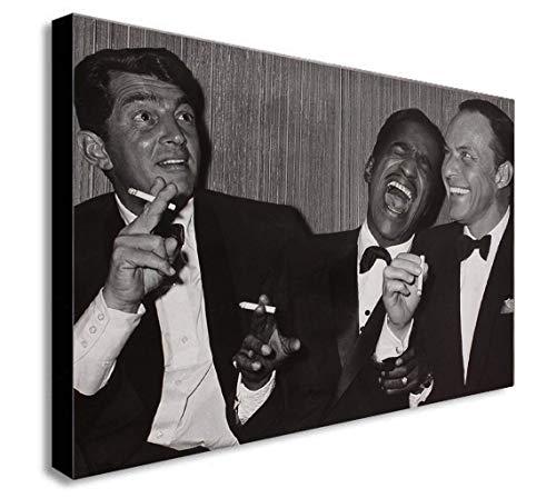 Impression sur toile encadrée Dean Martin, Sammy Davis Jr. et Frank Sinatra qui rit – Différentes tailles (A1 81,3 x 61 cm)