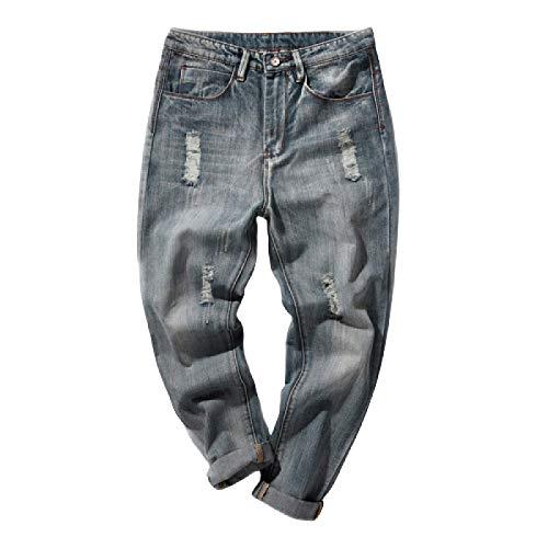 Beastle Pantalones Vaqueros para Hombre nuevos Pantalones Vaqueros Rasgados Harlan de Gran tamaño Holgados a la Moda Ropa de Trabajo Deportiva Informal 30