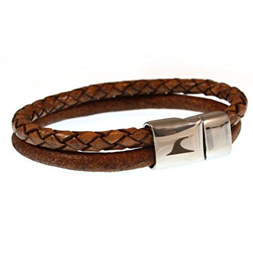 WAVEPIRATE® Echt Leder-Armband SWELL F Earth 23 cm Edelstahl-Verschluss in Geschenk-Box Surfer Damen Herren