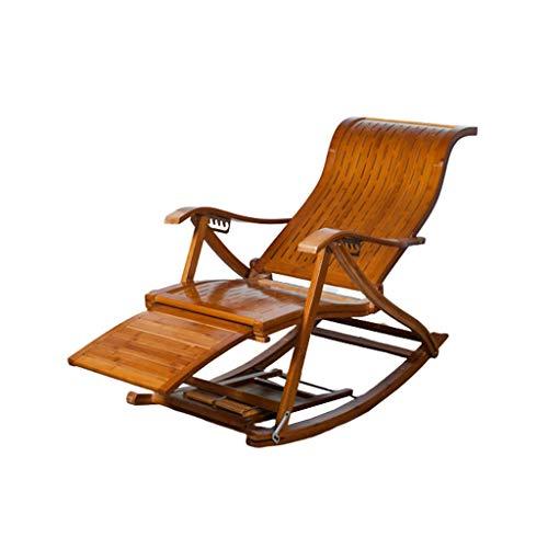 WFFF Mecedora de bambú, sillón reclinable de bambú de Madera Plegable con reposapiés retráctil, Silla de Sol Ajustable para jardín