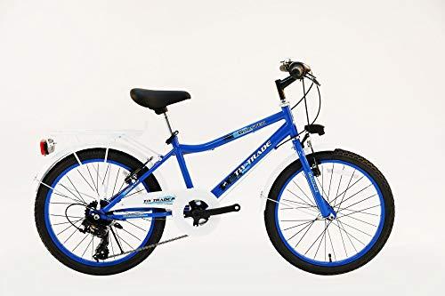 T&Y Trade 20 Zoll Kinder Jungen City Fahrrad Kinderfahrrad Jungenfahrrad Citybike Cityrad Cityfahrrad Rad Bike Beleuchtung 7 Gang Shimano Booster blau