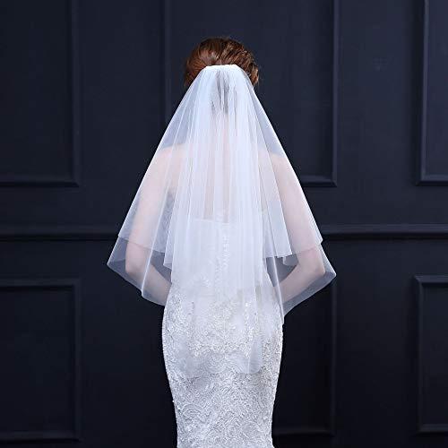 LINLIN Dubbele Sluier Bruid Bruidsjurk met Kam Delicate Kant Rand Gemakkelijk te dragen Voor Hen Party Accessoires Bachelorette(romige-wit)
