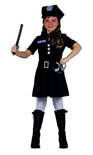 Fiori Paolo- Poliziotta Costume Bambino, Nero, 5-7 anni, 61223.M