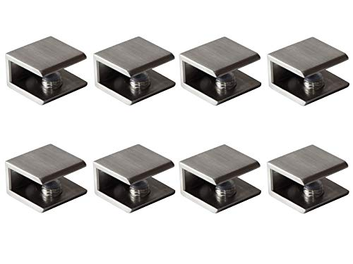 Glass Shelf Brackets Shelf Clips Metal Clamps Brushed Nickel Square Shape Wall Mounted Adjustable 6-10mm for Acrylic Wood (Set of 8)