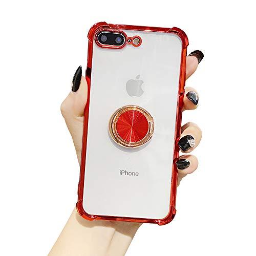 Suhctup Coque Compatible pour iPhone 7+ Plus/8+ Plus avec Support,Etui Case Transparent Silicone TPU Gel [Angles Renforcés] Antichoc Housse Cover avec 360° Support de Voiture Magnetique,Argent