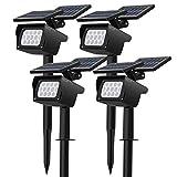 CLY 4 Piezas focos LED solares para jardín, focos LED para lámparas solares para césped con 3 niveles de brillo, proyector solar resistente al agua para árboles, arbustos, paredes, arbustos