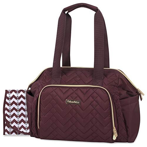Fisher Price Quilted Diaper Bag Tote & Convertible Crossbody with Adjustable Strap, Insulated Bottle Pocket, Changing Pad (Burgundy)