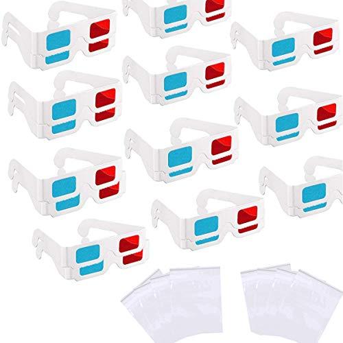 Gafas 3D Rojo Azul, Senteen 60 Pcs Gafas 3D Anaglíficas Carton Anaglifo Gafas Marco De Cartón Blanco para Viajes y Película Decoración (Viene con 20 Bolsas De Embalaje)