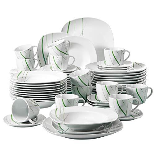 VEWEET Aviva 60 pièces Service de Table Porcelaine 12pcs Assiette Plate, Assiette à Dessert, Assiette Creuse, Tasse avec Soucoupes Vaisselles pour 12 Personnes Céramique Blanc Ivoire