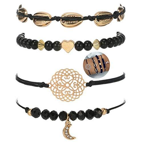 4 teiliges Armband Set | Bohemian Indi Style | Verstellbar Dehnbar | Schwarz Gold | Modeschmuck Glitzer Herz Armreif Frau Mädchen Love Liebe Muschel Mond