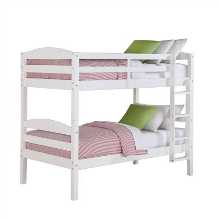 Better Homes and Gardens Leighton Wood Bunk Bed (Twin Over Twin, White)
