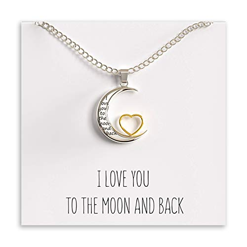 Moon and Heart Pendant Necklace