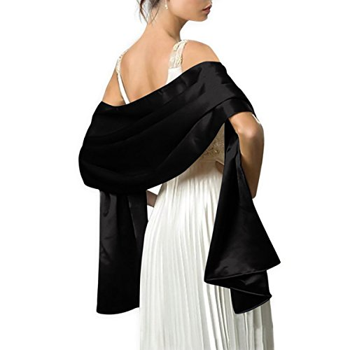 Satin Shawls and Wraps for Evening Dresses Bridal Party Special Occasion by Lansitina, Black, 95'L 26'W