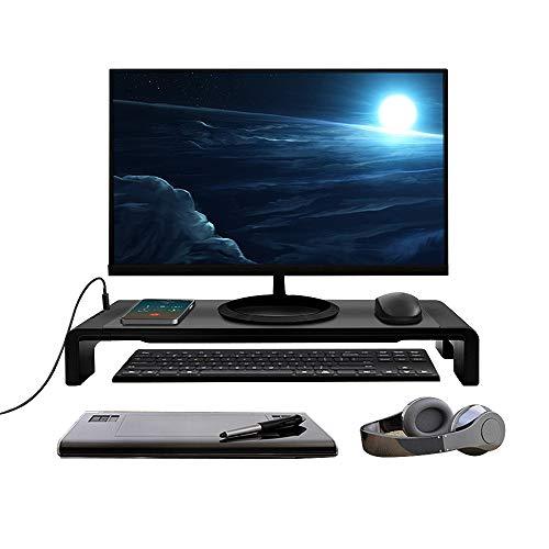 Tuo3eu Soporte de Monitor Plegable, Elevador Pantalla Longitud Ajustable con 4 Puertos USB soporta Transferencia de Datos y Carga para PC, Portatil Ordenador, TV, Negro
