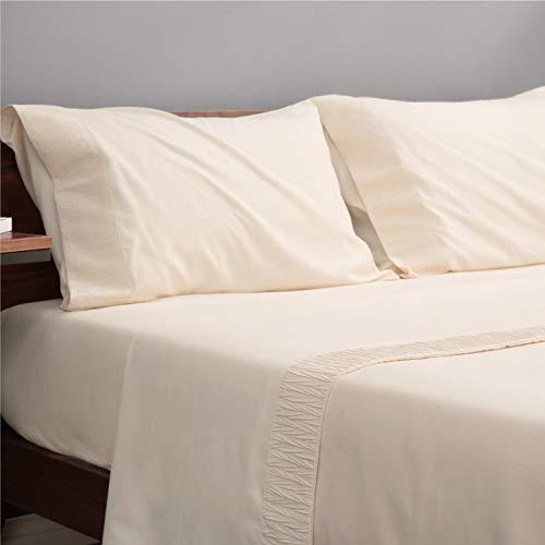 Bedsure Juego de Sábanas 135x190/200 cm 4 Piezas - Sábana Bajera Ajustable Cama 135 con Encimera 220x275cm 2 Fundas de Almohada 50x80cm - Beige