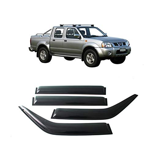 JHCHAN Deflectores de Viento para Nissan Navara D22 1997-2004 Double Cab Derivabrisas Deflector de Aire Humo Negro