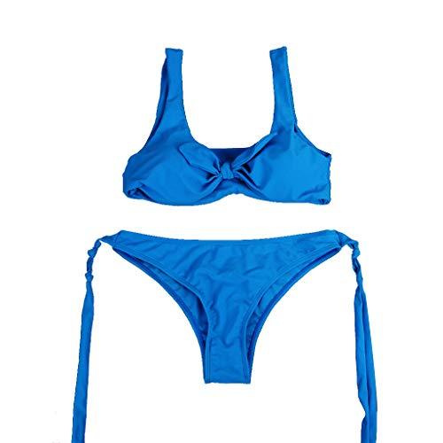 KunmniZ Mujeres Sexy Dos Partes Bikini Conjunto de Cuello en v Cuello en V Nudo Pulmón Sujetador Cintura Rubbona Tanga Fijo Color Salvaje Color Salvaje Color Eco Bañador Playa