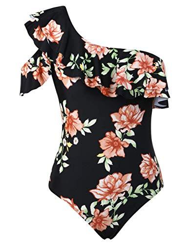 Hilor Women's One Piece Swimsuits One Shoulder Asymmetric Swimwear Ruffled Bathing Suits Monokini Black&Floral 12