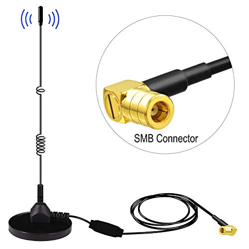 DAB+ Antenne SMB Adapter DAB Radio Antenne FM/AM DAB Antenne SMB Stecker mit DAB Signal Verstärker+Starker Magnetfuß+3M Kabel für Digital Autoradio Adapter Geeignet für die Innen und Außenbereich