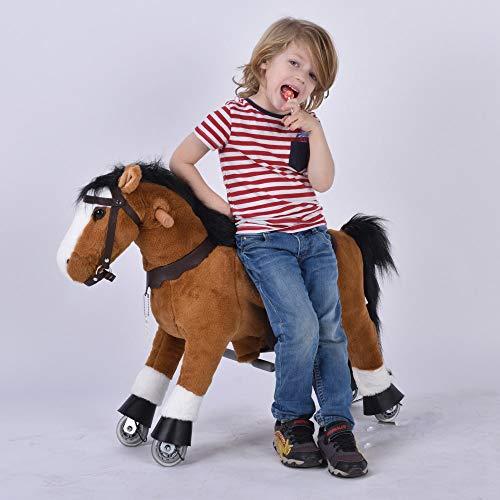 UFREE Cheval d'action poney, jouet cheval de marche, cheval à bascule avec roues montez à cheval pour les enfants âgés de 3 à 6 ans (Crinière noire)