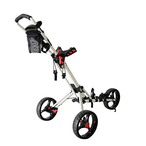 Golf Push Cart, 3 Wheels Foldable Hand Cart, Easy Push and Pull Cart Trolley with Umbrella and Tee Holder, Quick Open and Close Golf Pull Cart, Light Trolley