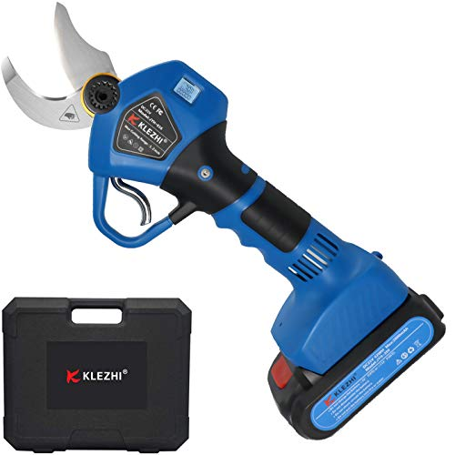 K KLEZHI Tijeras de Podar Electricas con Pantalla LED, Podadora con Bateria Profesional, Bateria Litio 2Ah Recargable con 2 Repuestos, Diámetro de Corte 30mm, 6-8 Horas Laborales, Azul Oscuro