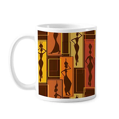 Taza de cerámica con diseño abstracto de África para mujer, color negro