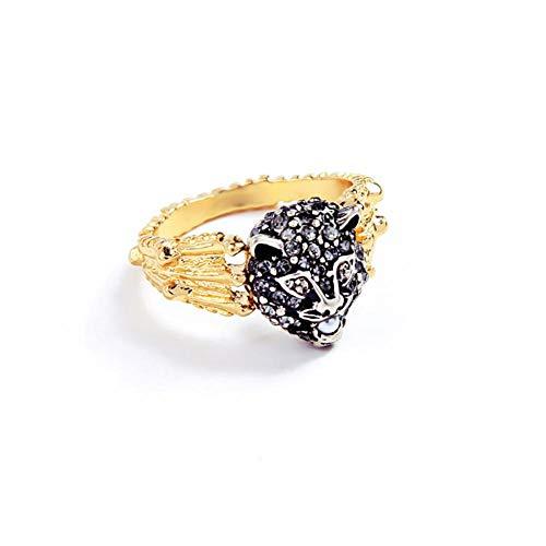 Hugyou - Anillo creativo para mujer, diseño de leopardo de cristal, accesorios de joyería para decoración