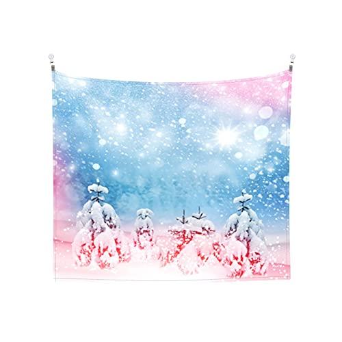 Tapiz de Pared,Tarjeta de año Nuevo de Paisaje de Invierno de Bosque de Invierno *Tapestry(Colgante de Pared) Decoración de Pared del hogar para Dormitorio Sala de Estar 152 x 130cm