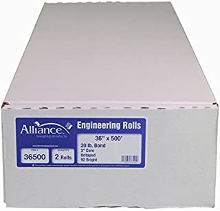 "Alliance Paper Rolls, Bond Engineering, 36"" x 500', 92 Bright, 20lb - 2 Rolls Per Carton with 3"" Core"