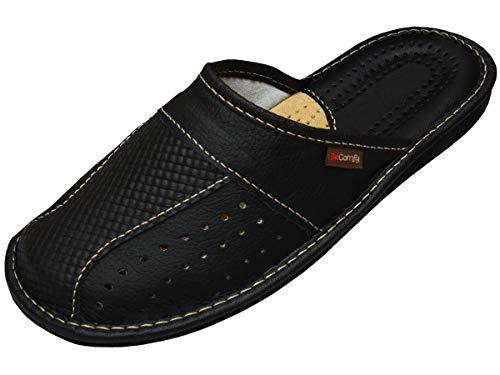 BeComfy Herren Hausschuhe | Genuine Leather | Pantoffeln aus Echtleder Schwarz Braun Rot 40 41 42 43 44 45 46 (43 EU, Schwarz)