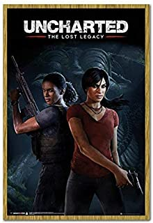 Uncharted The Lost Legacy Cover Poster Oak Framed - 96.5 x 66 cms (Approx 38 x 26 inches)