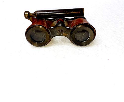 Prismáticos de latón de estilo antiguo de 4 pulgadas con cubierta de seguridad de cuero que lo hacen más atractivo y único, telescopio de regalos vintage, ideal para regalo.