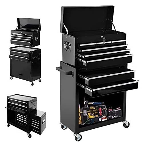 8 Drawers Tool chest Tool Box,High Capacity Tool Box, Tool Chest with Wheels and Lockable Drawers, Roller Movable Tool Storage Cabinet, Large Capacity Tool Box for Warehouse, Garage (BLACK-8 Drawers)