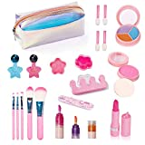 23 Pcs Kids Makeup Set with Cosmetic Bag, Washable Makeup Toy Kit, Safe & Non-Toxic, Real Cosmetic Beauty Set for Kids Play Game Halloween Christmas Birthday Party