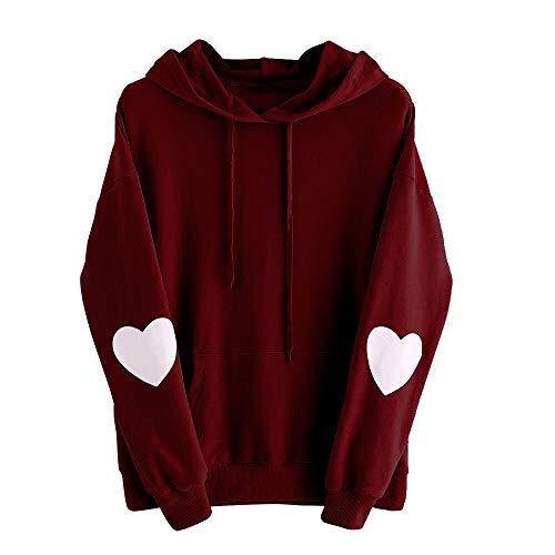 Xmiral Damen Sweatshirt Plus Size Langarm Solide Herz Hoodie Frauen Polyester Plain Jumper Pullover Tops Bluse (M,Wein)