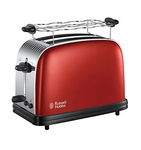 Russell Hobbs Toaster Colours+ rot, 2 extra breite Toastschlitze, inkl. Brötchenaufsatz, 6 einstellbare Bräunungsstufen + Auftaufunktion, Schnell-Toast-Technologie, 1670W, 23330-56