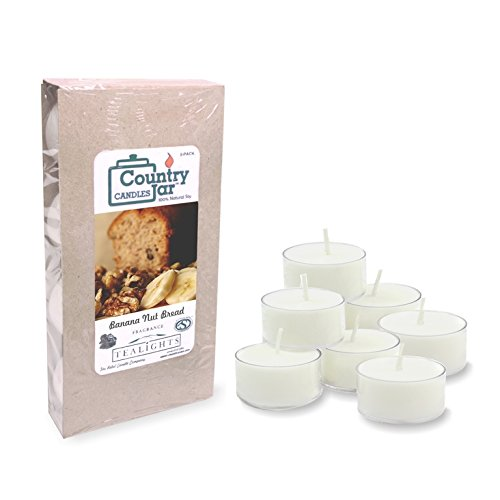 Country Jar Banana NUT Bread Tea Light Candles, (8-Pack/.75 oz. ea.) 100% Natural Soy (3 OR More Sale!)