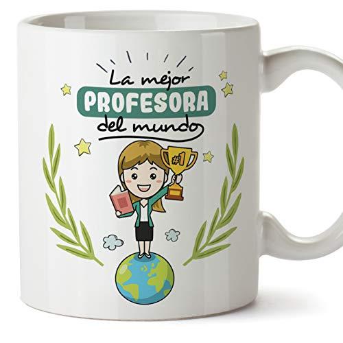 MUGFFINS Taza Profesora (Mujer) - La Mejor Profesora del Mundo - Regalos Originales para Profesoras y Maestras - Cerámica 350 ml / 11oz