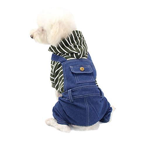 BBring Gestreift Latzhose für Kleine Hunde Katze, Denim Kapuzen Hundemantel Hundepullover mit 4 Beine Haustier Hunde Bekleidung Warm Winterpullover für Hündchen Kätzchen (S, Grün)